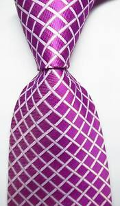 New-Classic-Checks-Purple-Red-White-JACQUARD-WOVEN-100-Silk-Men-039-s-Tie-Necktie