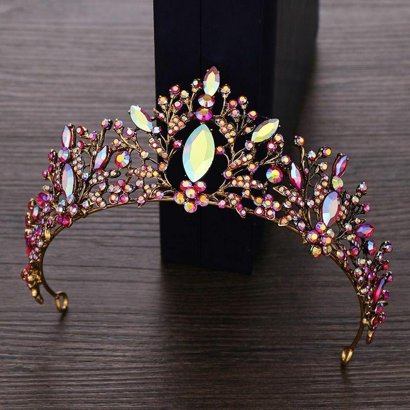 Vintage Style Princess Crown Tiara For Women Crystal Rhinestone Hair Accessories