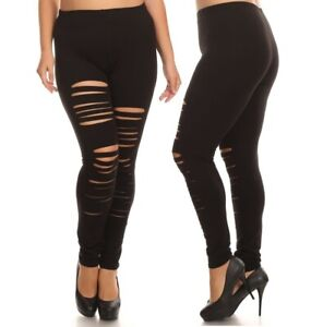best choice official supplier 50-70%off Details about Women plus size high waist leggings cut out shredded slash  ripped distressed