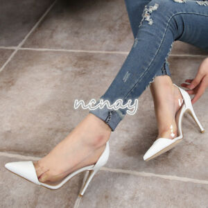 Womens-Sexy-Transparent-Pointy-Toe-Stilettos-Clear-Slip-On-Shoes-High-Heel-Pumps