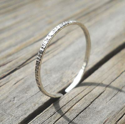 Textured 925 Sterling Silver Open Band Stackable Ring Size 3,4,5,6,7,8