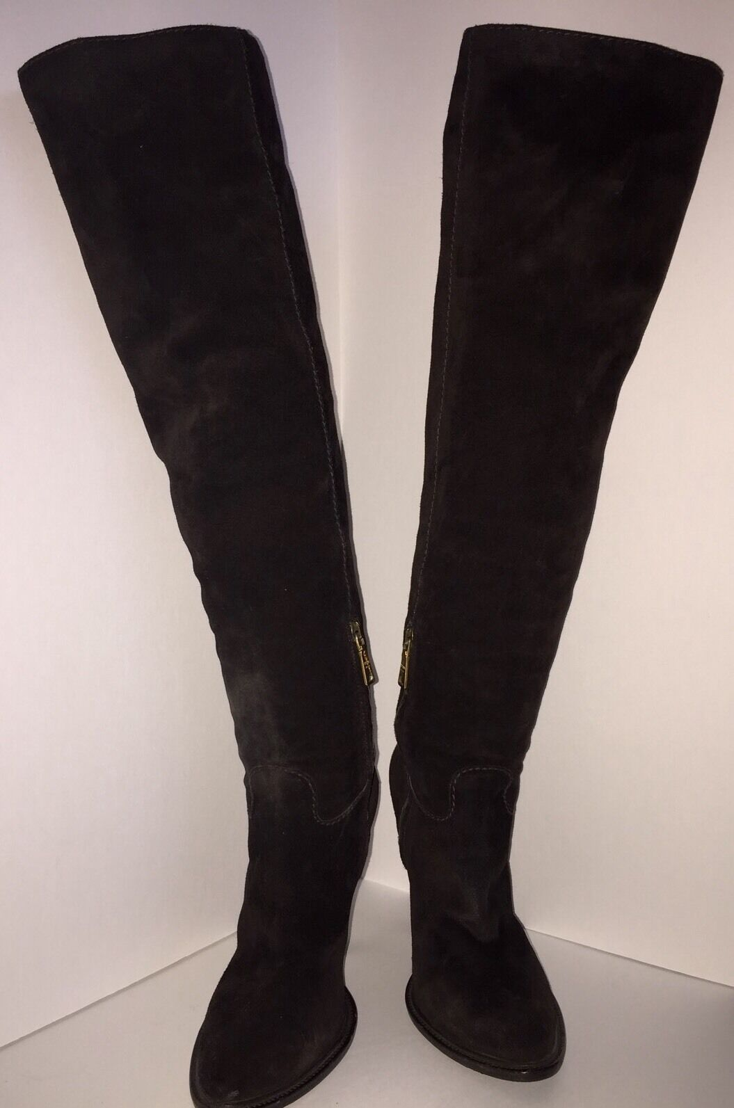 PRADA Chocolate Brown Suede Knee High Tall Boots SZ 38.5 Pre-owned