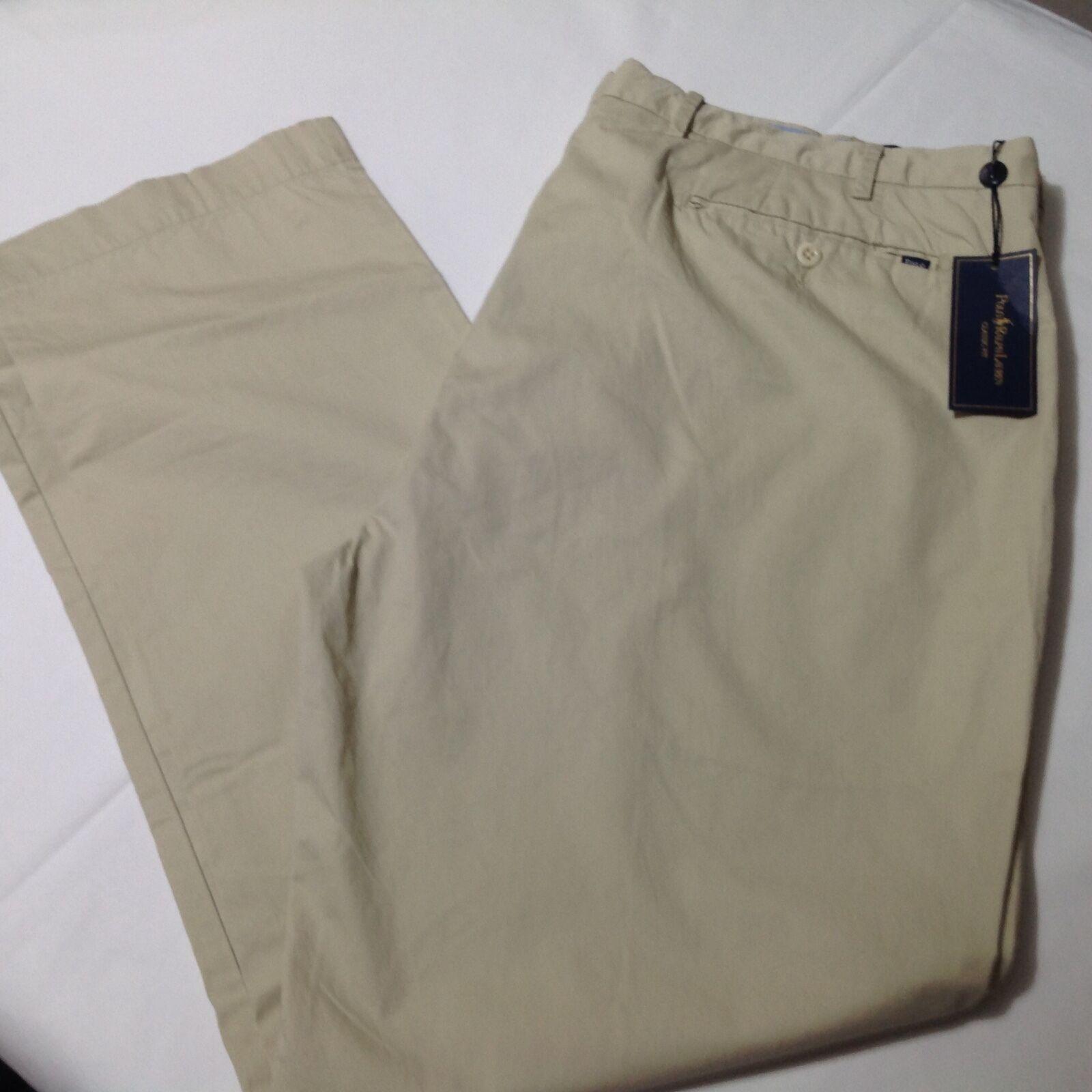 Men Polo Ralph Lauren Classic Light Weight Pima Cotton Beige 48Bx30 Big NWT