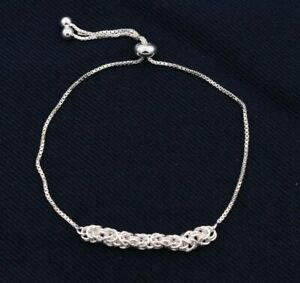 Square-Byzantine-Box-Chain-Adjustable-Bracelet-Real-Sterling-Silver-925