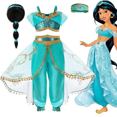 kids aladdin costume princess jasmine outfit girls halloween dress accessories ebay