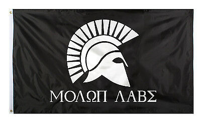 Molon Labe Flag Black Full Size Poly Flag 3' X 5' Polyester w/Grommet Holes 1527