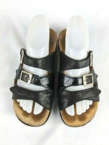 Think-Black-Leather-Buckle-Slides-Sandals-Shoes-Womens-Size-39-8-5