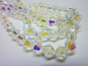 80-pce-Clear-AB-Faceted-Bicone-Crystal-Glass-Beads-5mm-Jewellery-Making-Craft
