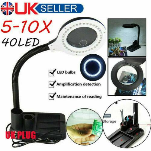 Magnifying Desktop Table Desk Flexible Lamp 5x /& 10x Magnifier 40LED Lighting UK