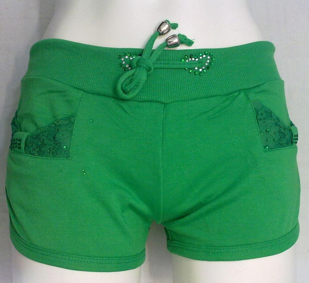 Complexé Short Pantaloncino Copricostume Mare Verde Donna Strass Pizzo Moda Fashion