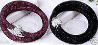 Joli Bracelet Résille Shamballa Tendance Cristaux Rose, Noir, Bijoux Fantaisie