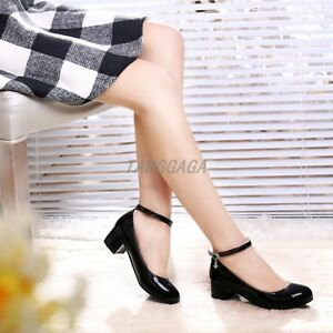 Fashion-Womens-Mary-Janes-Patent-Leather-Ankle-Strap-OL-Mid-Heel-Shoes-Plus-Size