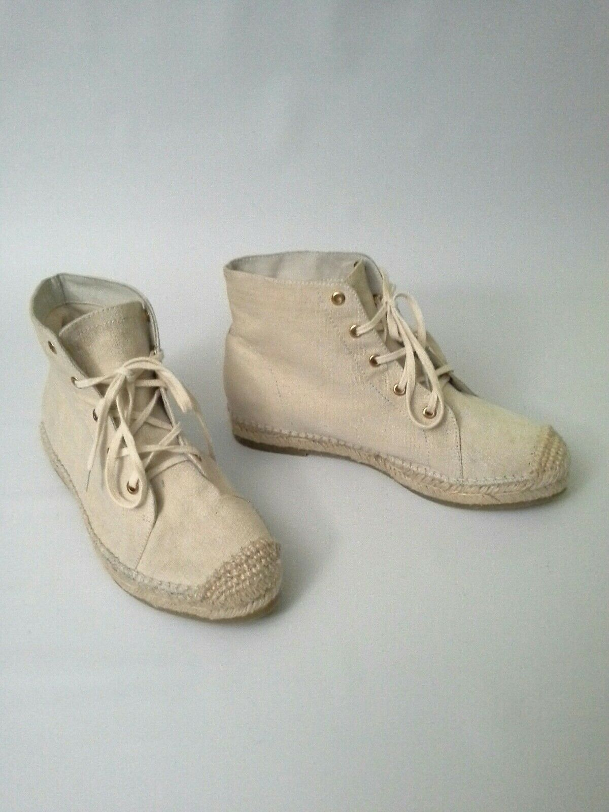 Anthropologie Echo High Tops Linen Espadrilles Sneakers Natural