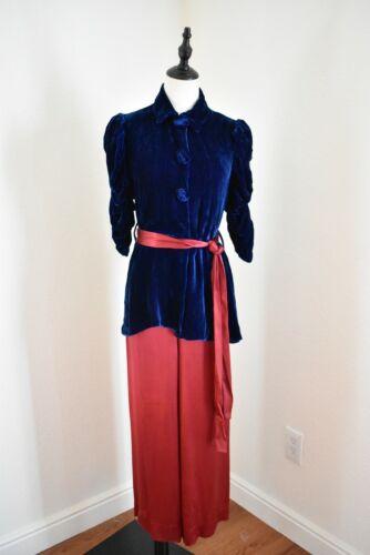 Vintage 1930s Silk and Velvet Beach Pajamas