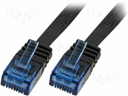 Patch cord schwarz Line U//UTP 5e PVC 30AWG CP0134B RJ45-Kabel 1m CCA