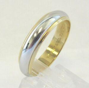 TIFFANY Co Platinum 18K Gold 6mm Milgrain Wedding Band Ring 13 2300