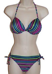 36f084d3682e0 Image is loading California-Waves-striped-push-up-underwire-halter-bikini-