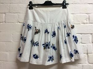a3c8c5cb3db76 Image is loading French-Connection-Size-8-White-Blue-Embroidered-Floral-