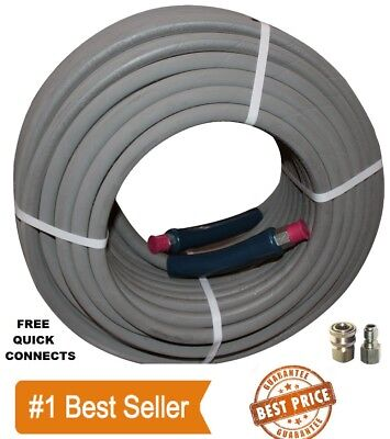 """100 ft 3//8/"""" Green Non-Marking 4000psi Pressure Washer Hose With Quick Connectors"""