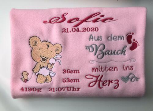 Babydecke mit Namen Spruch  20 Sprüche   zur Geburt oder Taufe Teddy