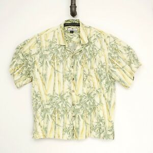 f9c34d79 Tommy Bahama Mens Hawaiian Shirt XL Light Yellow Green Bamboo Print ...