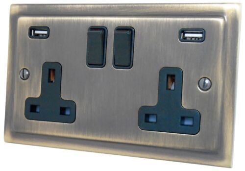G/&h brassware Antique Bronze Laiton Poli 13 A 2.1 A USB Double Plug Sockets