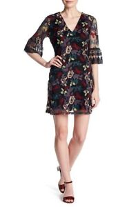 NEW-Alexia-Admor-V-Neck-Floral-Embroidered-Dress-XS-MSRP-245