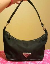 PRADA Black Nylon Small Size Shoulder Bag Evening Tote Handbag Purse