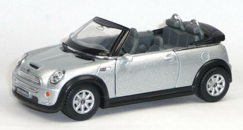 1:28 silbergrau KINSMART Cabrio Mini Cooper S Convertible Sammlermodell ca NEU