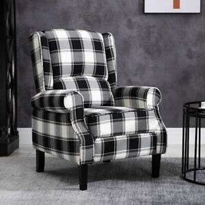 Black Check Recliner Armchair Wing Back Fireside Check ...