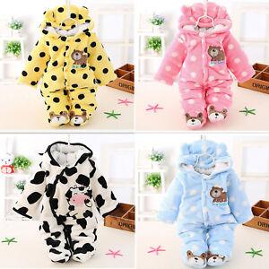 2895a27459d Baby Boy Girl Newborn Warm Cute Bear Romper Jumpsuit Bodysuit Hooded ...