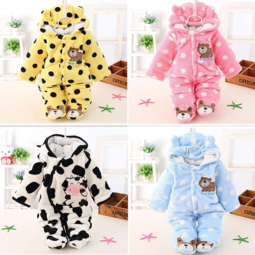 Winter Warm Newborn Baby Boy Girl Bear Romper Jumpsuit Bodysuit Hooded Clothes