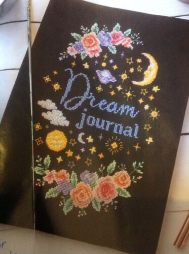 Dream Journal Note Book Cover Roses Moon Stars Planets Cross Stitch Chart K