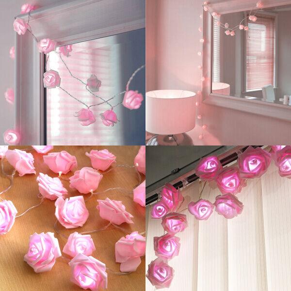 20LED Pink Rose Flower Fairy Light Garden Wedding Bedroom Party Decorating Light