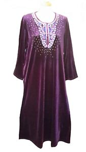 15097-Ladies-039-knitted-Velvet-multi-colour-embroidery-floral-long-kaftan-M