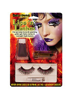Wild & Wicked Lips 'n' Lashes Eyelashes,glitter Gel & Lipstick Makeup Kit Purple