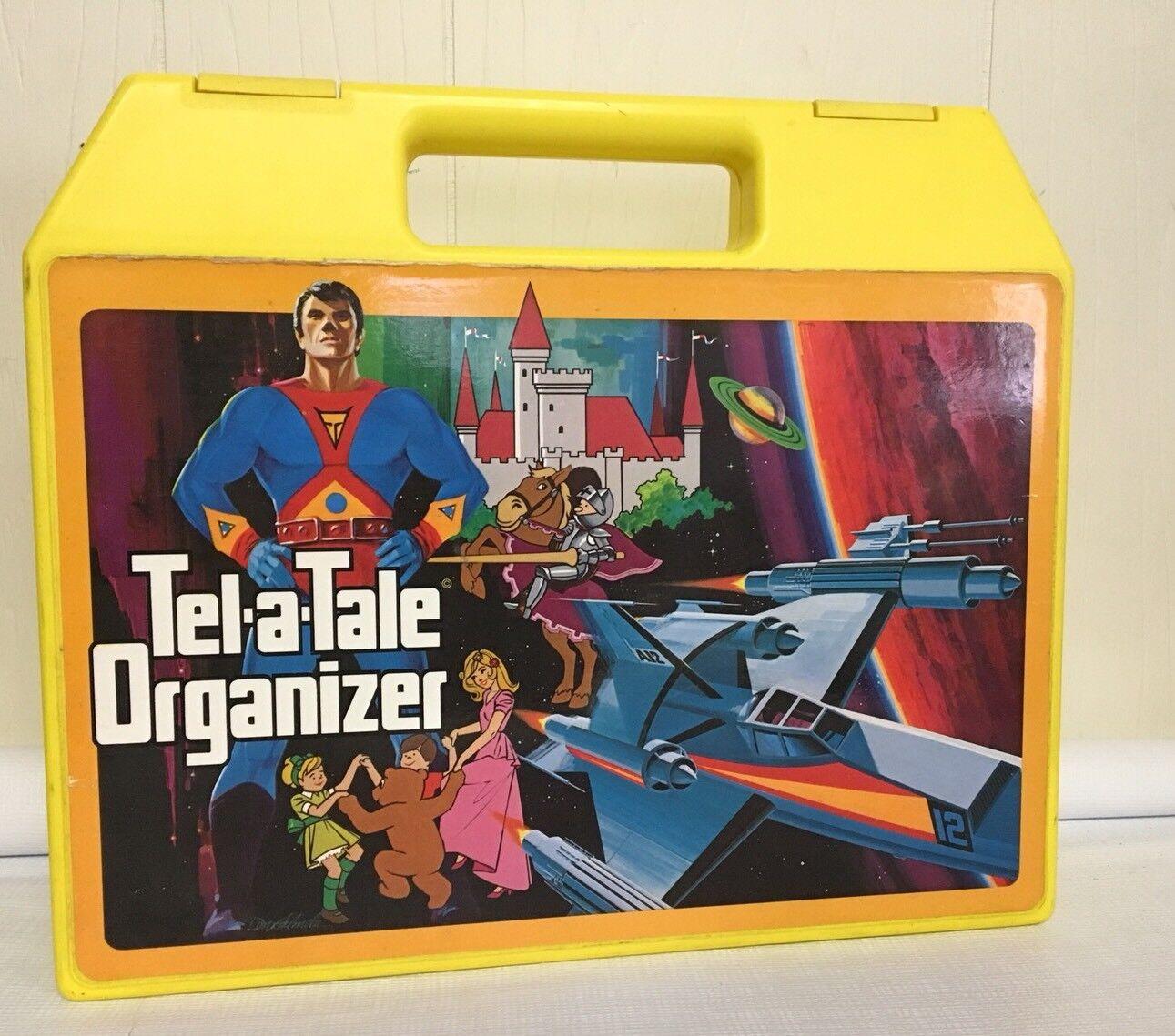 Vintage 1980s Tel A Tale Organizer Cassette Book Case Storage Container Gelb