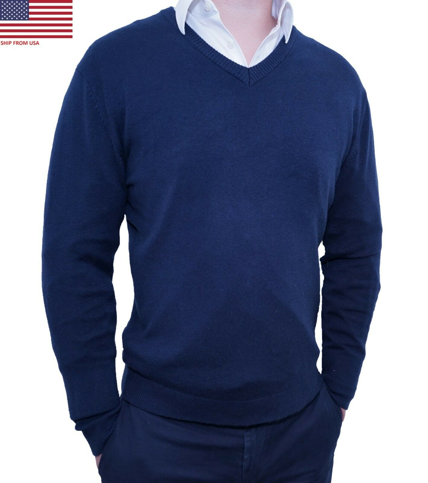 Men's Slim Fit Pullover Sweater Tops Knitted Long Sleeve Business Casual Sweater