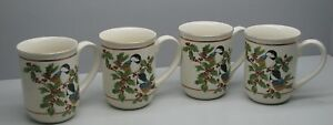 Otagiri-Vintage-Coffee-Cup-Mug-Set-4-Chickadee-Birds-Holly-Berries-Japan-Holiday