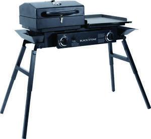 Blackstone 1555 2-Burner Tailgater Grill, 60000 BTU, Propane, Steel/Cast Iron