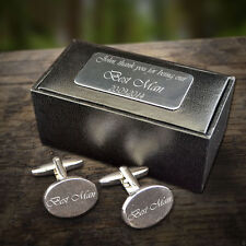 Personalised Engraved Oval Cufflinks Wedding Gift Best Man Groom Christmas gift
