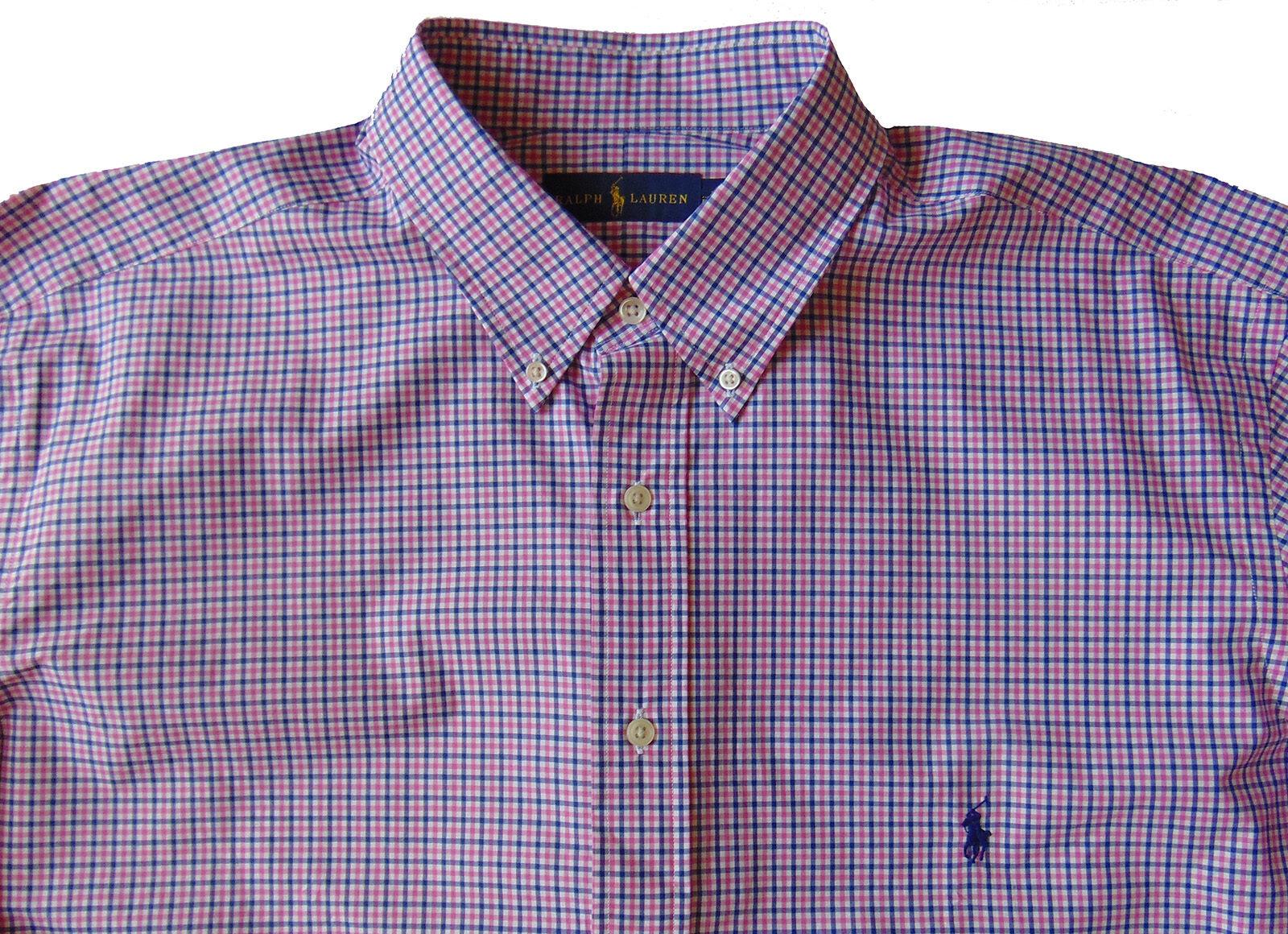 Men's RALPH LAUREN bluee Pink White Plaid Shirt LT TALL NWT NEW Amazing