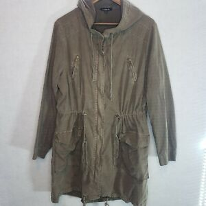 Torrid-Twill-Anorak-Jacket-Hooded-Green-Size-1-Plus-Size-Drawstring-Linen-Blend