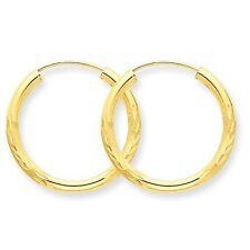 14k Yellow Gold 2mm Satin Diamond-cut Endless Hoop Earrings. 20mm Diameter.
