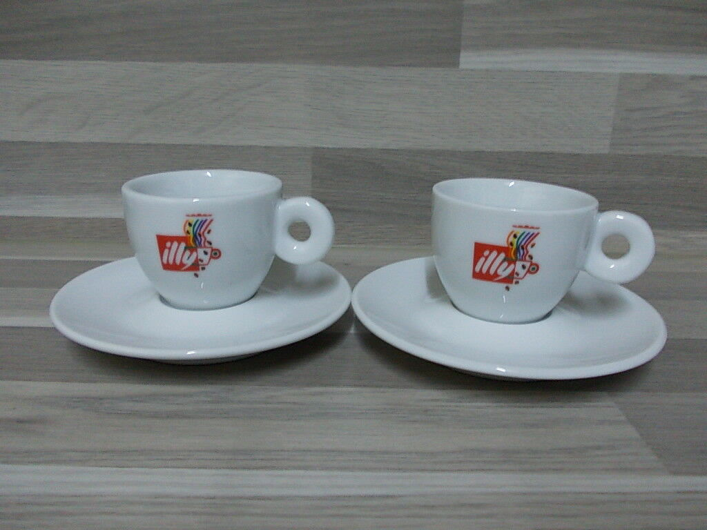 Set of 2 rare Illy collection Aroma espresso cups + saucers by ipa