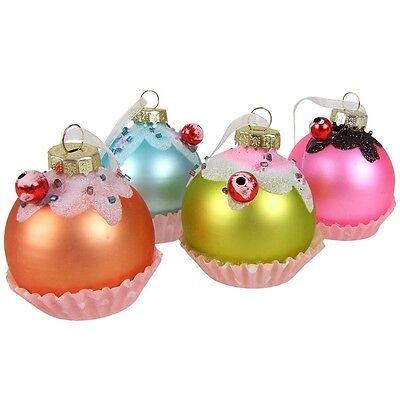 4er-Set Christbaum-Glas-Anhänger Muffin 5cm Weihnachtsbaumschmuck Deko