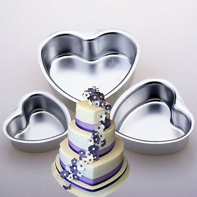 "Good! 3"" 4"" 5"" Heart Aluminum Cake Muffin Pan Baking Tin Wedding Party Mold #V"
