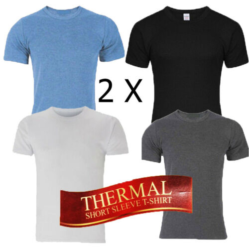 Top 2 X Men Short Sleeve Thermal Vest T Shirt Brushed Inside For Extra Warmth S-3XL