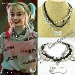 2020 Harley Quinn Birds Of Prey Bone Charm Pendant Necklace Bruce Prop Cosplay Ebay
