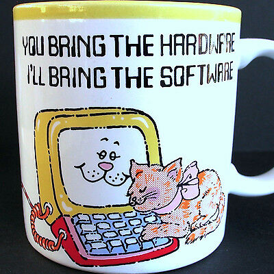Cat Computer You Bring Hardware I Bring Software Vtg Coffee Mug Cup 1986 Japan